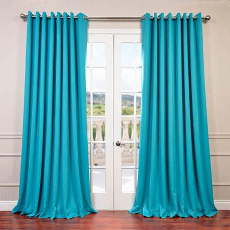 Turquoise Blue Grommet Doublewide Blackout Curtain