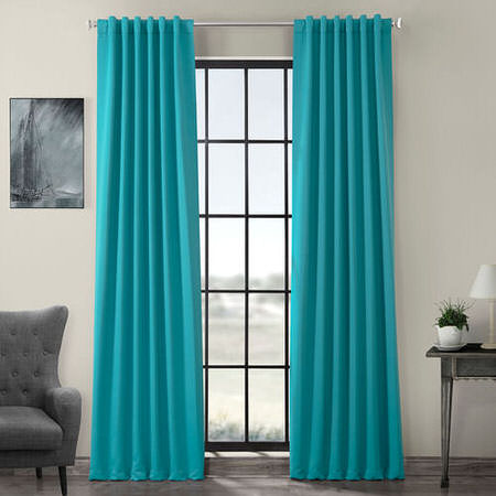 Turquoise Blue Pole Pocket Blackout Curtain