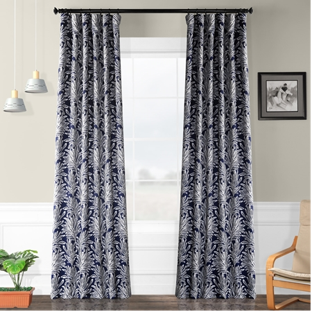 Flora Navy Blackout Curtain