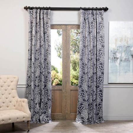 Flora Grey Blackout Curtain