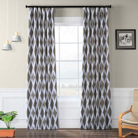 Crosshatch Grey Blackout Curtain