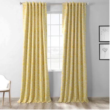Abstract Misted Yellow Blackout Curtain