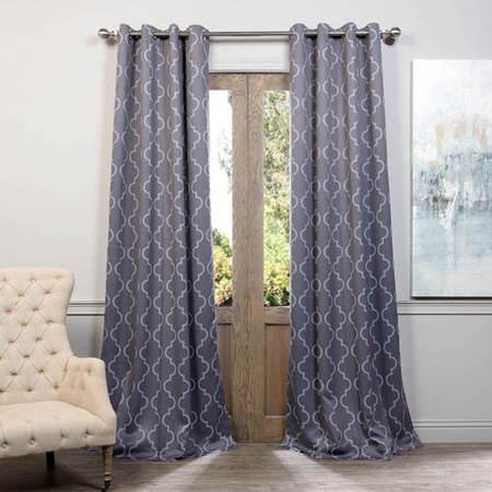 Seville Grey & Silver Grommet Blackout Curtain