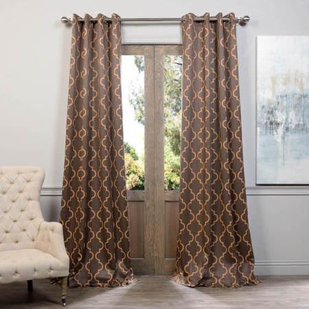 Seville Grey & Gold Grommet Blackout Curtain