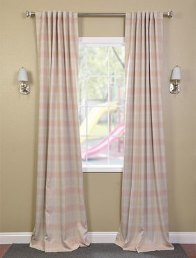 Peaches n- Cream Plaid Black Out Pole Pocket Curtain