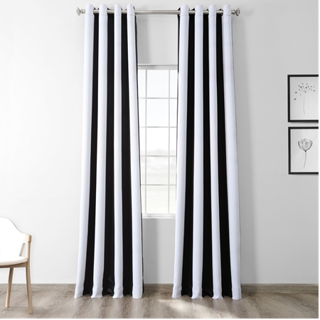 Awning Black & White Stripe Grommet Blackout Curtain