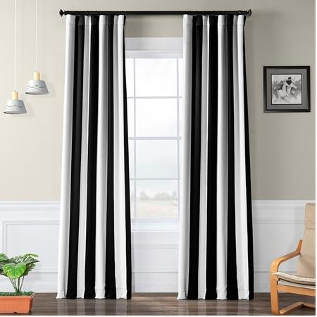 Awning Black & White Stripe Blackout Curtain