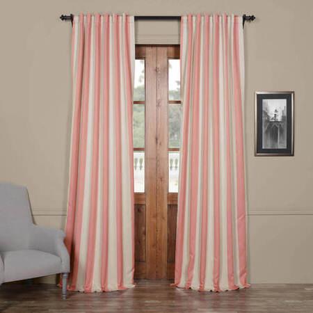 Blush & Cream Striped Blackout Curtain