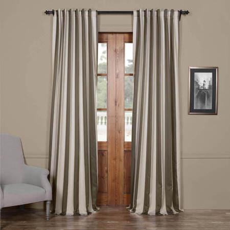 Steel Grey & Cream Striped Blackout Curtain