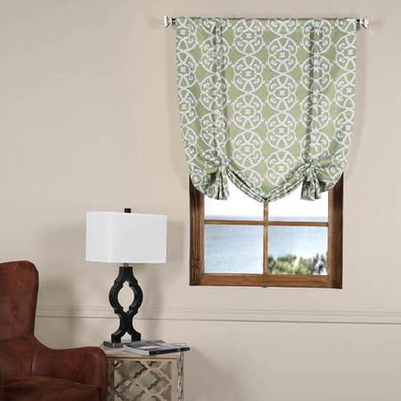Secret Garden Leaf Green Blackout Tie-Up Window Shade