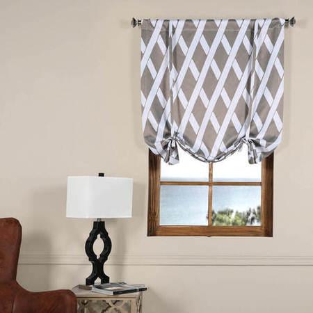 Crosshatch Grey Blackout Tie-Up Window Shade