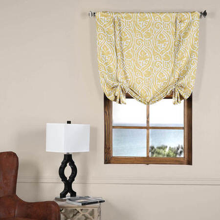 Abstract Misted Yellow Blackout Tie-Up Window Shade