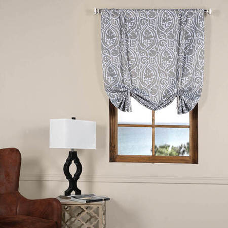 Abstract Lunar Grey Blackout Tie-Up Window Shade