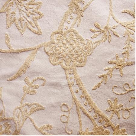 Lorraine Embroidered Cotton Crewel Swatch