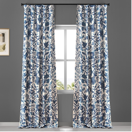Norway Embroidered Cotton Crewel Curtain