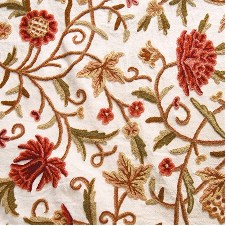 Paloma Embroidered Cotton Crewel Swatch