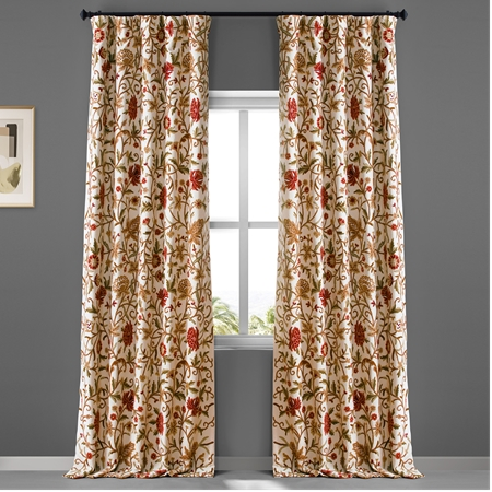 Paloma Embroidered Cotton Crewel Curtain