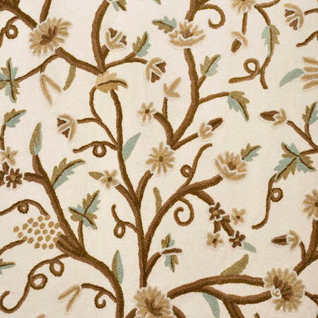 Frances Embroidered Cotton Crewel Swatch