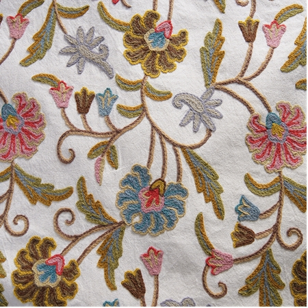 Marlow Embroidered Cotton Crewel Swatch