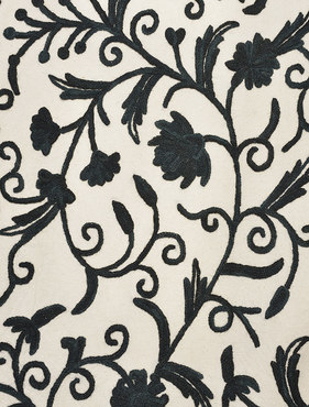 Simone Embroidered Cotton Crewel Swatch