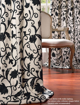 Simone Embroidered Cotton Crewel Curtain