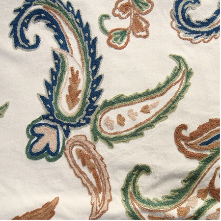 Laurel Embroidered Cotton Crewel Swatch