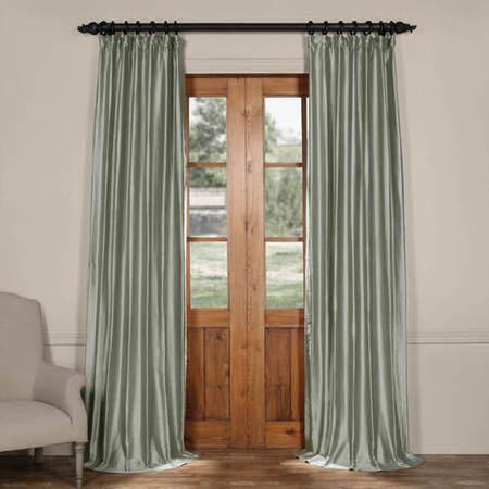 Quarry Blue Cotton Silk Curtain