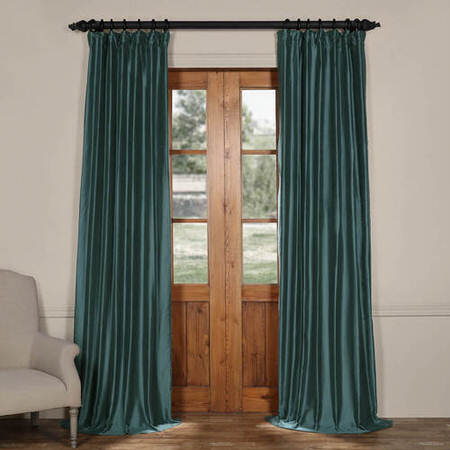 Tapestry Teal Cotton Silk Curtain