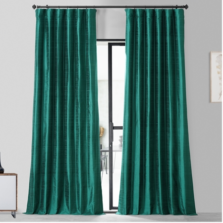 Splashy Turquoise Textured Dupioni Silk Curtain