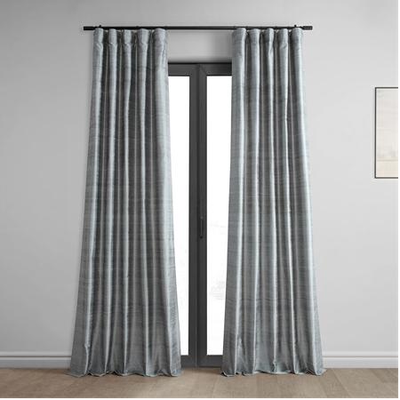 Mineral Grey Textured Dupioni Silk Curtain