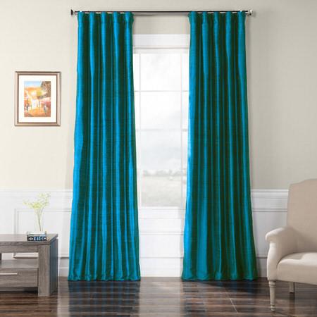 Intense Teal Textured Dupioni Silk Curtain