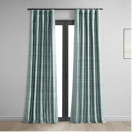 Mood Blue Textured Dupioni Silk Curtain