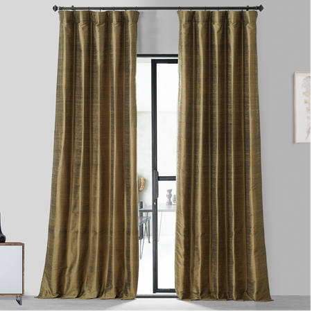 sconce gold textured dupioni silk curtain - Rust Color Curtains