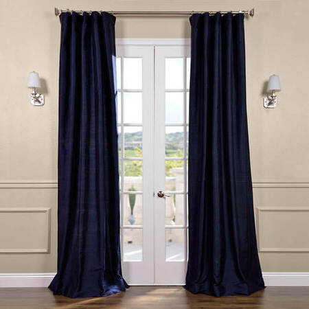 Navy Textured Dupioni Silk Curtain