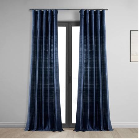 Navy Textured Dupioni Silk Curtain