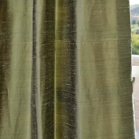 Restful Green Textured Dupioni Silk Swatch