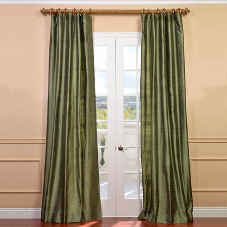 Restful Green Textured Dupioni Silk Curtain