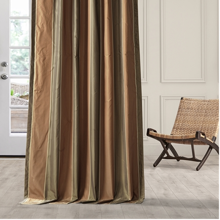 Windsor Taffeta Silk Stripe Curtain