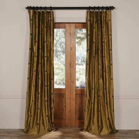 London Taupe Gold Silk Curtain