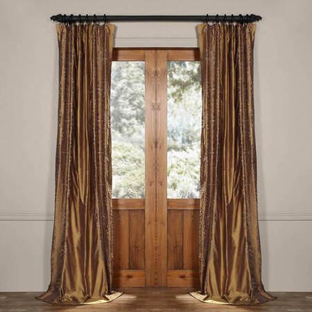 Chai Brown Gold Silk Curtain