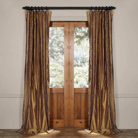 Chai Brown Gold Silk Curtain