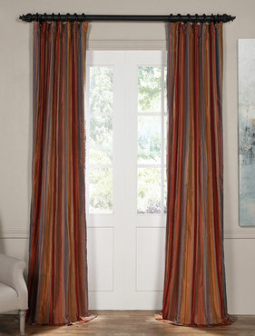Fawn Multicolor Silk Stripe Curtain