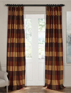 Bambi Rust Silk Plaid Curtain