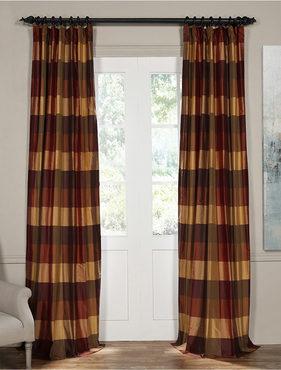 Bambi Rust Silk Plaid Curtain