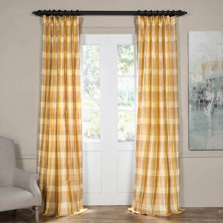 Buttermilk Silk Plaid Curtain