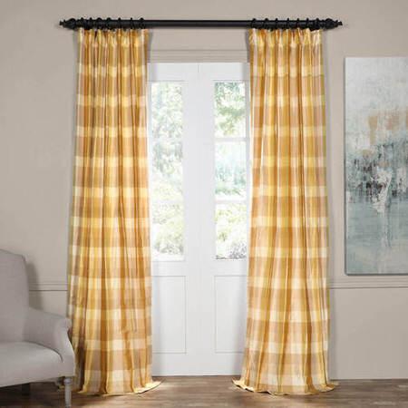 Buttermilk Silk Plaid Curtain