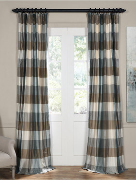 Elmwood Natural Silk Plaid Curtain