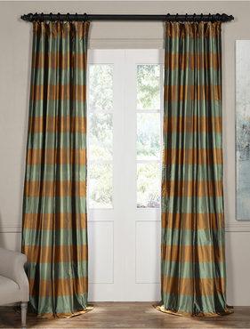 Tavern Bronze and Aqua Silk Plaid Curtain