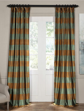 Tavern Bronze and Aqua Silk Plaid Curtain