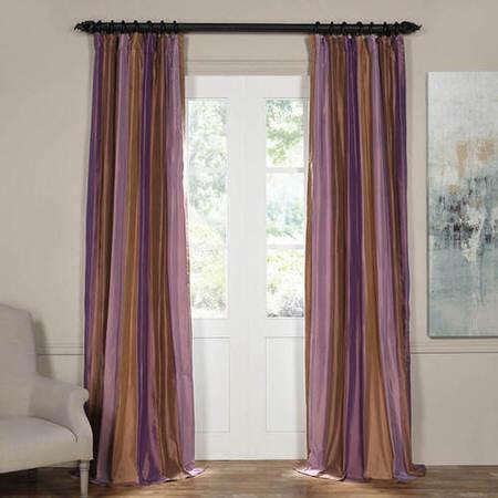 Smokey Topaz and Amethyst Silk Stripe Curtain